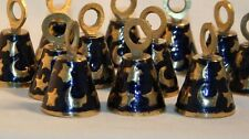 BRASS BELL w/ Moon and Stars Pattern 12 Piece Set 1 1/2 Inch Made in India