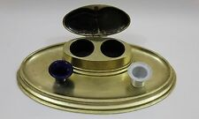 Antique Brass Double Covered Oval Inkwell