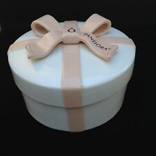 Authentic Pandora White Pink Bow Round Ceramic Keepsake Jewelry Trinket Box