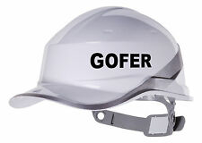 2X GOFER Hard Hat vinyl decal. Warehouse sticker transfer CUSTOM COLOUR & FONT
