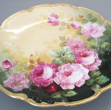 "Antique LIMOGES Porcelain HP 13"" Charger PINK ROSES w Lush GILT Trim * POUYAT"
