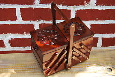 VINTAGE STYLE SMALL WOODEN  SEWING  BOX HAND CRAFTED IN BROWN COLOUR