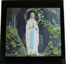 COLOUR Glass Magic lantern slide LOURDES STATUE C1900 FRANCE