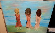 THREE WOMEN ABSTRACT ORIGINAL OIL ON CANVAS FOLK PAINTING UNSIGNED