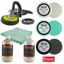 Brohn Black Ice Car Polisher 1200W & Boora Sponge and Compound Polish Kit