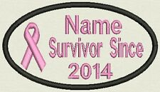 "Oval Breast Cancer Survivor Patch - 4.25"" x 2.50"" Tag, Badge, - Add a Name"