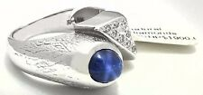 NATURAL 1.10 Carats STAR SAPPHIRE & DIAMONDS 14k WHITE GOLD RING *Free Appraisal