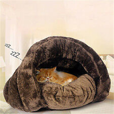 Super Soft Cat Dog House Puppy Cave Pet Sleeping Bed Mat Pad Igloo Nest  Brown