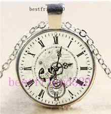 Steampunk Clock Photo Cabochon Glass Tibet Silver Chain Pendant Necklace