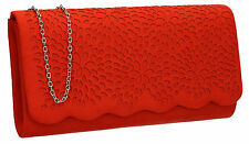 Womens Laser Cut Faux Suede Velvet Ladies Evening Party Prom Smart Clutch Bag