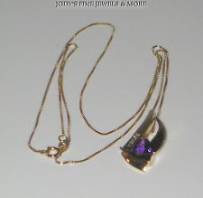 "MAGNIFICENT ESTATE 14K YELLOW GOLD DIAMOND & AMETHYST PENDANT 18"" BOX NECKLACE"