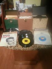 Lot of (75) Mixed Genre 45's Vinyl with 3 Vintage Carrying Cases - 1950/60/70's