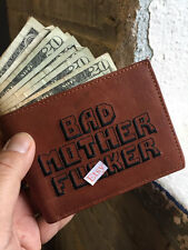 NEW BAD ASS MOTHER F*CKER Brown Wallet Embroidery 100% REAL LEATHER BMF® Brand