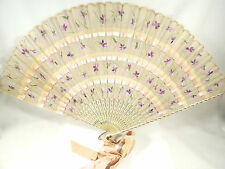 VINTAGE ANTIQUE CHINESE SILK HANDPAINTED LARGE FOLDING HAND FAN
