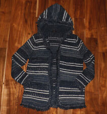 NWT Womens FYLO Navy Blue White Hooded Sweater Open Front Shrug Cardigan Sz XL