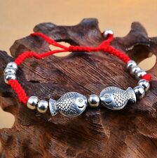 Tibetan Silver Twin Fish Feng Shui Red String Lucky Charm Bracelet for Wealth