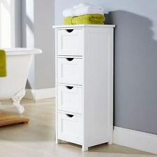 FREE STANDING BATHROOM 4 LARGE DRAWER CABINET STORAGE CUPBOARD WOODEN WHITE UNIT