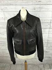 Womens Vintage C&A Leather Bomber Jacket - UK10 - Brown - Great Condition