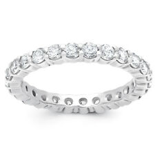 3.40 CT Diamond Lab Created Brilliant Eternity Wedding Band Ring 14K White Gold