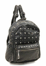 Black DESIGNER WASHED LADY Leather-Like URBAN STUDS CLASSIC Purse BACKPACK