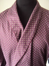 M&S ~ brushed 100% cotton burgundy retro style dressing gown/bath robe ~M-38-40""