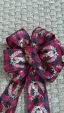 """Ribbon lodge country look  - Red Black Plaid Gold Stag Wired Edge 2.5"""" 5 Yds"""