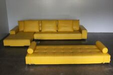 "Rare Impeccable Zanotta ""Alfa 1326"" L- Shape Sofa & Daybed Suite in Yellow Le..."