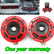 2x CAR RED SUPER LOUD GRILLE MOUNT COMPACT ELECTRIC BLAST TONE HORN KIT FOR 12V