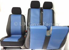 VW TRANSPORTER T5 VAN SEAT COVERS  BLUE PVC LEATHER P100BU