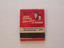 VINTAGE HIGH SCHOOL EDUCATION AT HOME ADVERTISING MATCHBOOK