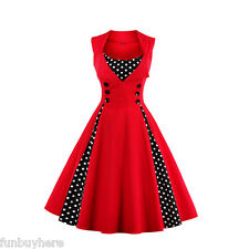 Women Vintage 50s Swing Solid RED Polka Dot Pinup Rockabilly Evening Party Dress