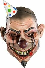 Boys Psycho Clown Mask Latex Face Joker Wide Smile Scary Crazy Halloween Kids