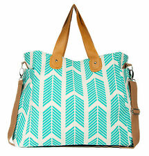 Teal Arrows Weekender Tote Bag Diaper Messenger Crossbody Chevron Blue Large