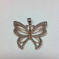 GORGEOUS WHITE & PINK TWO TONE BUTTERFLY 14K GOLD PENDANT