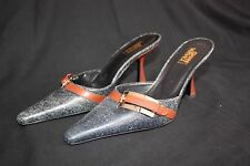 Versace Mules in Pelle Blue Denim Leather and Gold Size 35 (US 5)