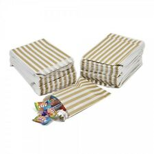 100 x Gold Candy Stripe Sweet / Gift Paper Bags - 5'' x 7''