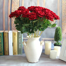 Red Mini Velvet Rose Spring Artificial Fake Peony Flower Bouquet Wedding Decor