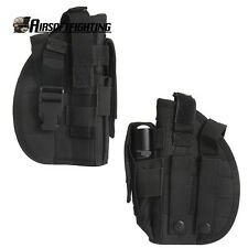 Right Hand Molle Tactical Pistol Holster Gun Bag Flashlight Pouch Hunting Black