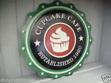 Retro Style Metal Wall Sign CUPCAKE CAFE Est 1920 (bottle top style tin Plaque)