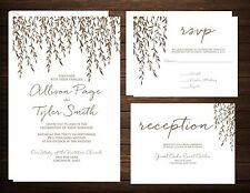 Wedding Invitations Weeping Willow 100 Invitations RSVP Reception Cards