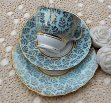 Colclough - Duck Egg Blue & Gold China Teacup,Saucer,Side Plate Trio - Beautiful