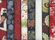 8 Coordinated ASIAN JAPANESE ORIENTAL FAT QUARTER QUILT FABRIC: 2 Yds