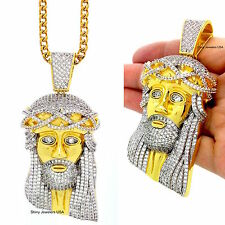 MEN ICED OUT JESUS PENDANT 14K GOLD FILLED STAINLESS STEEL FRANCO CHAIN NECKLACE