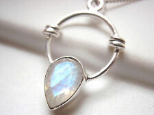 Small Faceted Moonstone Necklace 925 Sterling Silver with Rope Style Accents