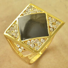 Mens Yellow Gold Filled Black Crystal Square Ring Size 10 Fashion Jewelry