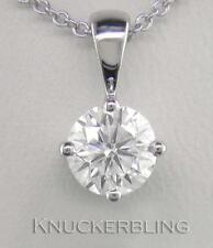 0.70ct F SI Exc Round Brilliant Cut Diamond & 18ct White Gold Pendant with Chain