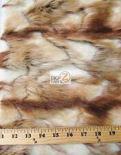 FAUX FAKE FUR HIGH LOW RABBIT ANIMAL LONG PILE FABRIC - Brown/Latte - BY YARD