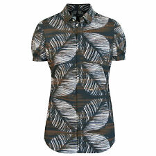 DSQUARED2 $585 brown tropical tribal print button front dsquared shirt 40 NEW