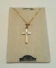 Antique/Old Gold Filled/ Diamond Cross Pendant Necklace/ 1 20TH/12 Kt.Gold
