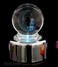 LED LIGHT BABY ON THE MOON CRYSTAL BALL WIND UP MUSIC BOX